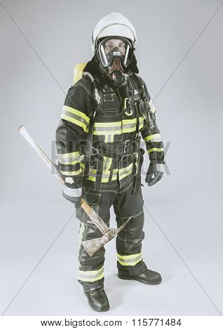 Professional German Fire Fighter in complete protective Suit