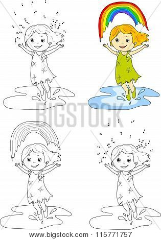 Girl Dancing With Rainbow . Vector Illustration. Coloring And Dot To Dot Game For Kids