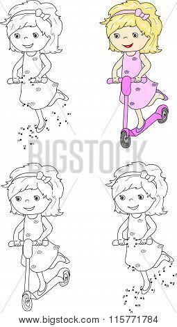 Small Cute Girl Riding A Scooter. Vector Illustration. Coloring And Dot To Dot Game For Kids