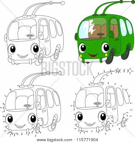 Cartoon Green Trolleybus. Vector Illustration. Coloring And Dot To Dot Game For Kids