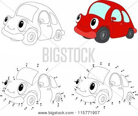 Cartoon Red Car. Vector Illustration. Coloring And Dot To Dot Game For Kids