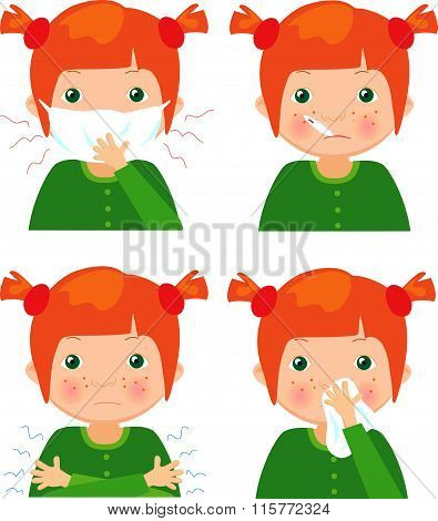 Red-haired Sick Girl With Flu Mask, Thermometer And Handkerchief