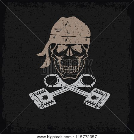 Biker Theme Grunge Label With Skull And Pistons