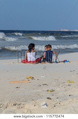 Egyptian Children Play On The Beach Of The Mediterranean Sea  On October 09, 2014 In Alexandria, Egy
