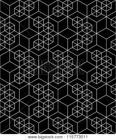 Regular Contrast Textured Endless Pattern With Cubes, Continuous Geometric Background