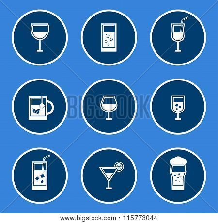round glasses icon set