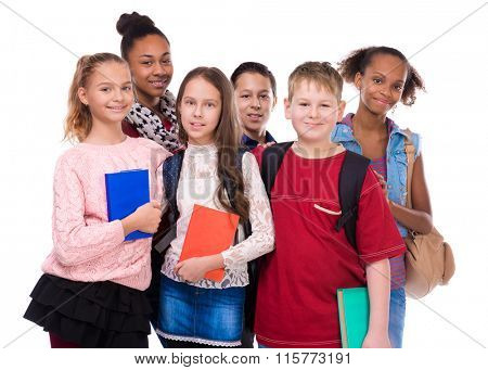 pupils with different complexion and clothes