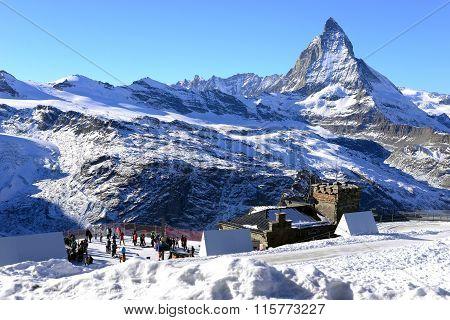 ZERMATT, SWITZERLAND - DECEMBER 12: View of Matterhorn with tourist in winter on December 12, 2015