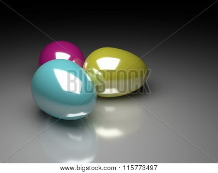 Three 3D Easter Eggs Lying On Glossy Background