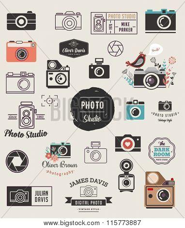 Photographer, cameras, photo studio elements, icons set