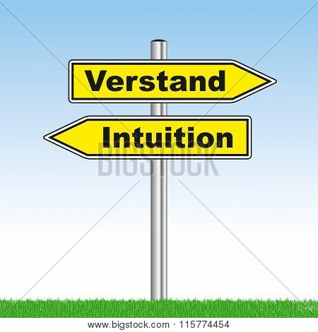 Sign With Mind Or Intuition Showing Opposite Directions