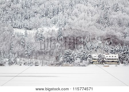Winter View Of A Chalet Motel Near The Lake Of Abant