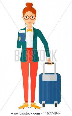 Woman standing with suitcase and holding ticket.