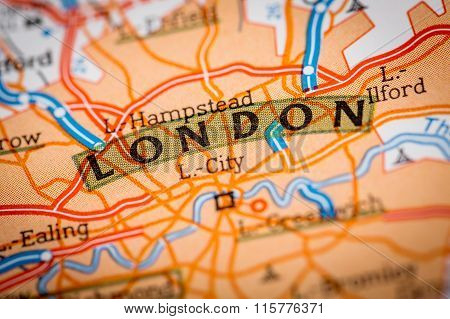 London City On A Road Map