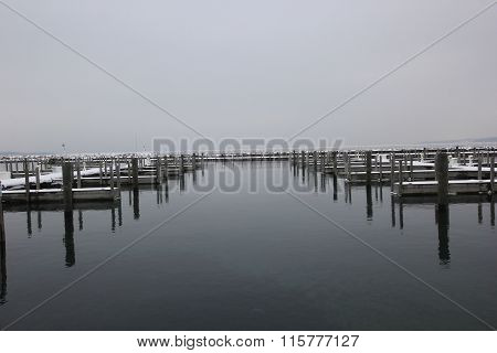 Traverse City harbor in winter