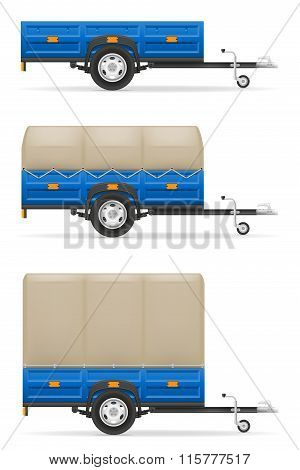 Set Icons Car Trailer For The Transportation Of Goods Vector Illustration