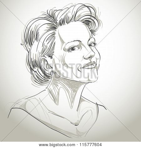 Monochrome Vector Hand-drawn Image, Peaceful Young Woman. Black And White Illustration Of Confident