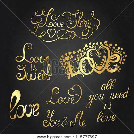 Set of hand-written words. Love lettering. Vector text for your design.