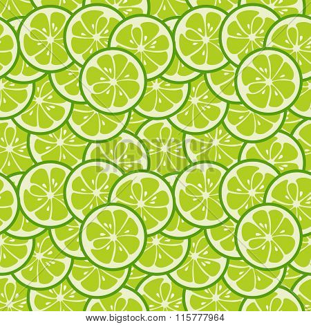 Cute seamless pattern with green lime slices