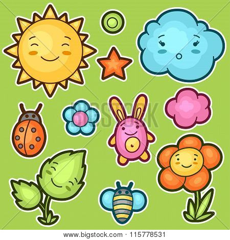 Set of kawaii doodles with different facial expressions. Spring collection cheerful cartoon characte