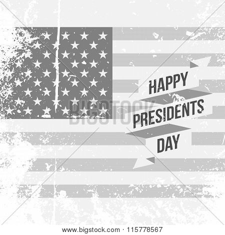 Happy Presidents Day text and Ribbon on USA Flag