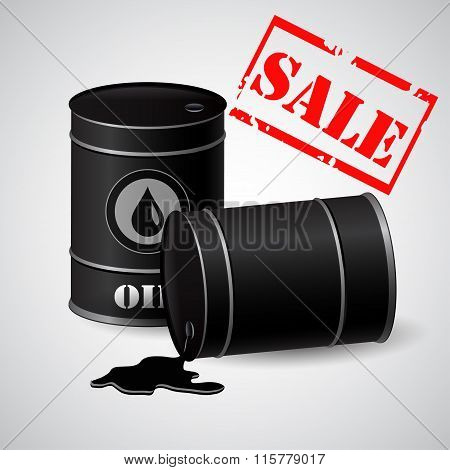 Oil barrels with a sale banner