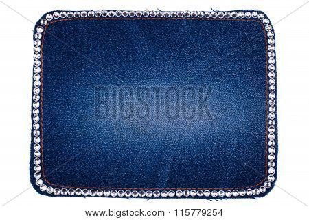 Frame Is Made From Denim With White Rhinestones, Isolated