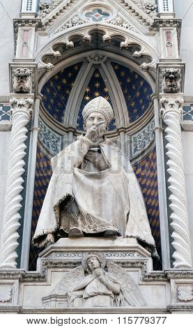 FLORENCE, ITALY - JUNE 05: St. Antoninus (Antonio Pierozzi, the Archbishop of Florence), Portal of Cattedrale di Santa Maria del Fiore (Cathedral of Saint Mary of the Flower), Florence, June 05, 2015