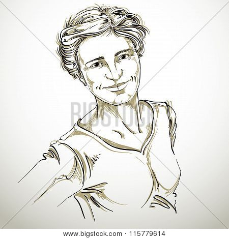 Artistic Hand-drawn Vector Image, Black And White Portrait Of Delicate Kind Stylish Girl. Emotions