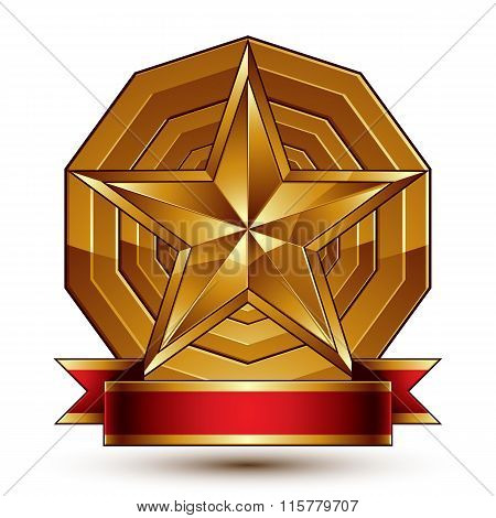 Complicated Vector Golden Design Element With Pentagonal Decorative Star And Red Curvy Ribbon. 3D Lu