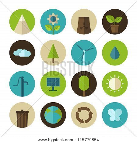 Set of vector flat design concept icons for ecology and environment