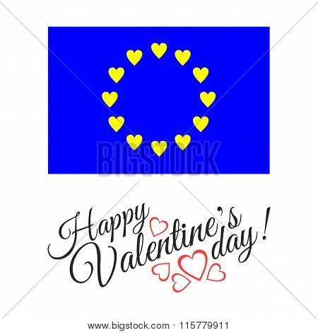 European flag of love isolated on white background with hearts.