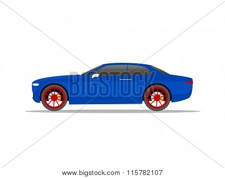 Blue Sports Car Coupe With Red Wheels