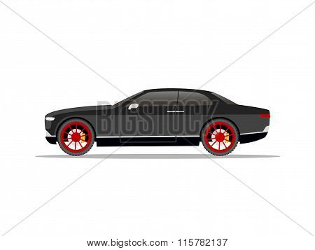 Black Sports Car Coupe With Red Wheels