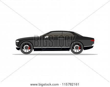 Black Sports Car Coupe With Black Wheels
