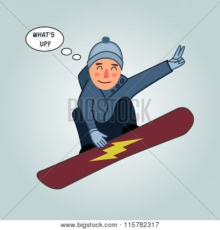 Snowboarder jumping pose on winter outdoor background. Snowboard people tricks. Special snowboard tr