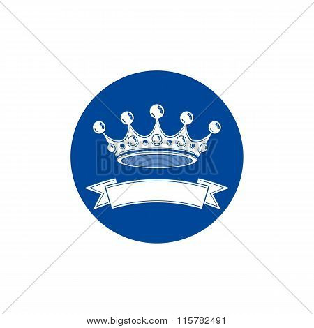 3D Stylish Monarch Crown Decorated With Ribbon, Royalty Symbol. Branding Emblem, Vip Services Theme.
