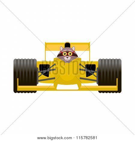 Raccoon Driving A Yellow Racing Bolide Car