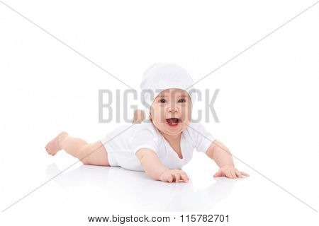 Cute laughing baby on white background