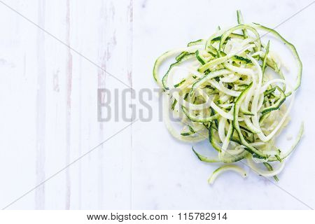 Courgette Spaghetti On White Background