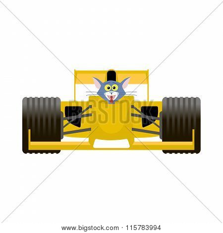 Cat Driving A Yellow Racing Bolide Car