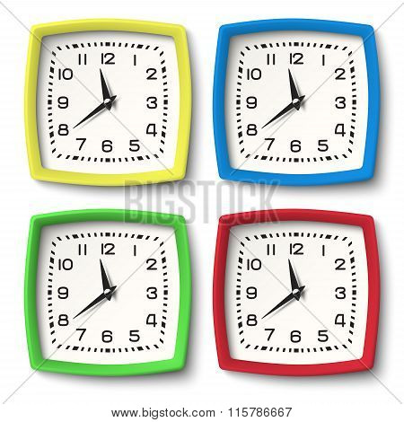 Set Of Colour Station Wall Clocks Isolated On White Background