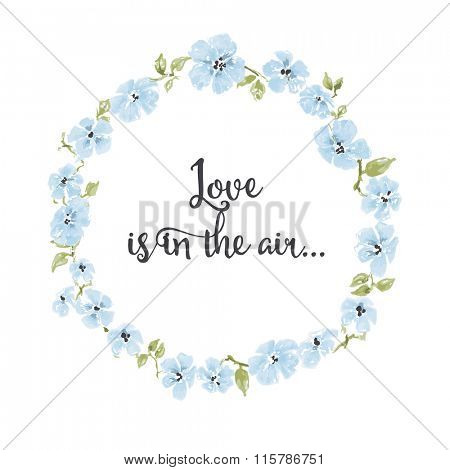 Blue flowers wreath, round frame for text
