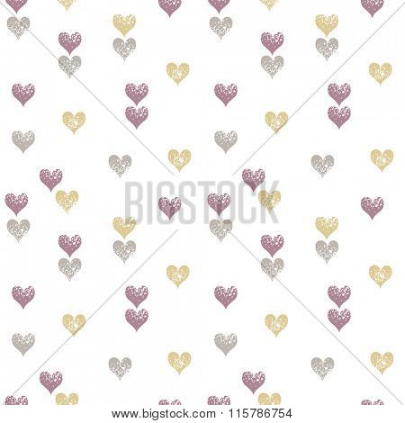 Hearts seamless pattern, Valentine background in trendy colors