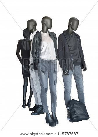 Group Of Mannequin Wear Casual Clothing
