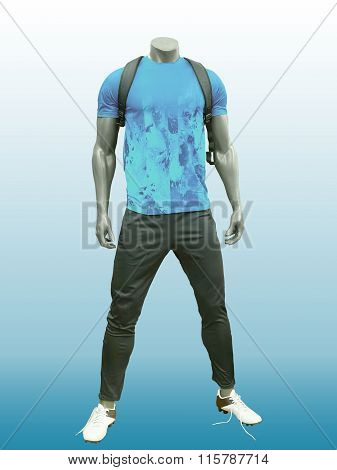 Male Mannequin Wearing Sport Athletics Clothes