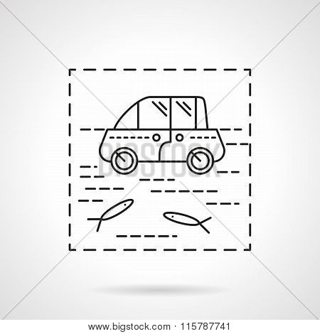 Car insurance vector icon. Flood