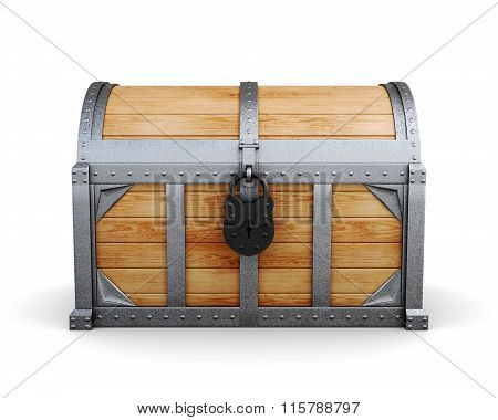 Chest in a castle isolated on a white background.