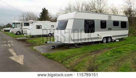Group og white caravans