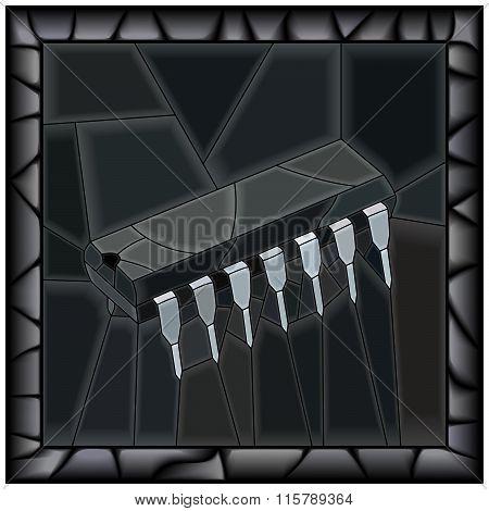 Vector Black Illustration Of Microchip.